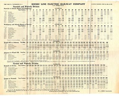 Shore Line Electric Railway Interurban Timetable ETT #7 June 28, 1920 SLERy