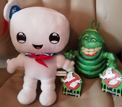 Ghostbusters Stay Puff Marshmallow Man & Slimer Plush Set New With Tags