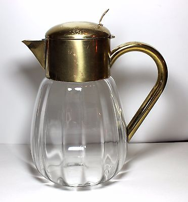 Antique  GERMAN CUT CRYSTAL AND BRASS PITCHER