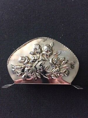 Genuine Silverplated Napkin Holder Embossed Rose Bouquet Both Sides Rope Edge