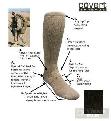 Covert Threads DESERT Military Boot Socks LG BLK 5157 NEW *FAST SHIP*!!