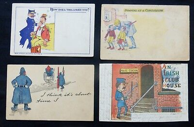 4 OLD POLICE COMIC Post Cards  #1835