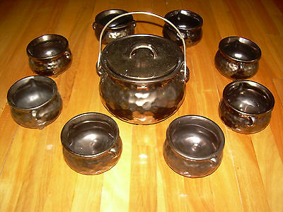 RARE! Vintage Full set 8 Bowls McCoy Pottery Copper Bean Pot with lid and handle