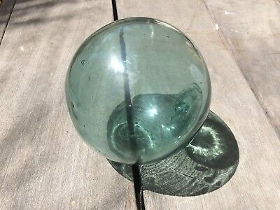 "Vintage Japanese Glass Fishing Float  Blue  Made in Japan 13"" Diameter Tiki Bar"