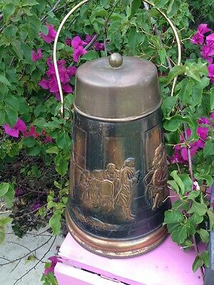 Antique English Embossed Very OLD BRASS /Copper Pot Covered  GREAT FIREPLACE
