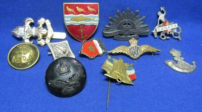 WWII Australian, French, British RAF Royal Air Force Wings Badge, Button Lot Of