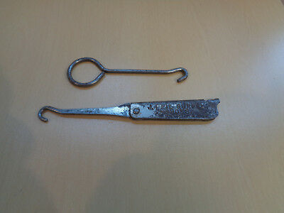 2 Vintage Button Hooks-One Folding Advertising J.Phil Ruppel Shoes Bearstown Ill