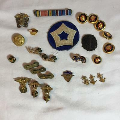 Lot of Vintage Military Buttons Ribbons Insignia Patch Navy Medical Pins