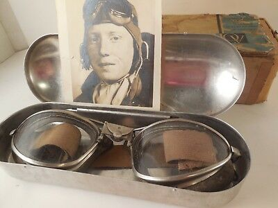 American Optical AO GOGGLES AVIATOR Vintage Pilot Aviation USAAF Flight WW2