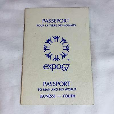 Vintage EXPO67 expo 67 World's Fair Youth Passport Used Complete