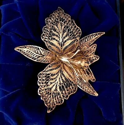 VTG Sterling Silver - 925 Large Filigree Floral Flower Brooch Pin - 15.9g