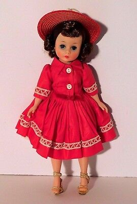 "Vtg. Madame Alexander Cissette Doll Tagged Red Dress w /Lace Straw Hat 10"" 1958"