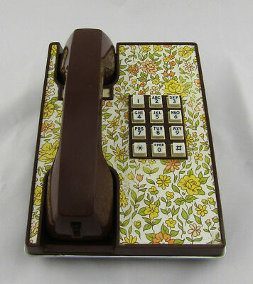 Vtg 70s Floral Desk Phone Touch Tone Brown Yellow Bell Western Telephone