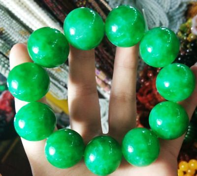 Exquisite Chinese Natural Green Jade Big Beads Bracelet