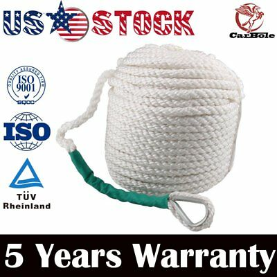 "1/2"" X 100 ' WHITE ANCHOR/ ROPE/BOAT/DOCK LINE DOUBLE BRAID NYLON W/Thimble"