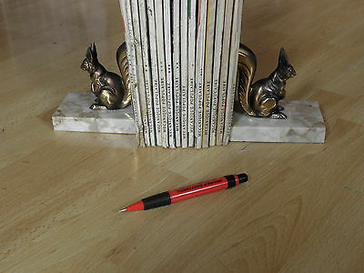 Stunning French Art Deco Squirrel Polar Marble Base Bookends old