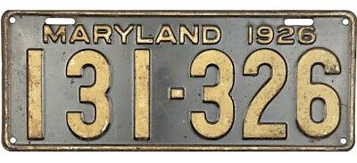 1926 Maryland License Plate #131-326 NICE No Reserve