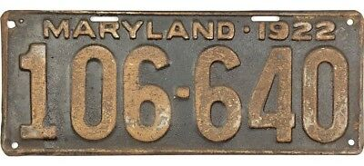 1922 Maryland License Plate #106-640 No Reserve