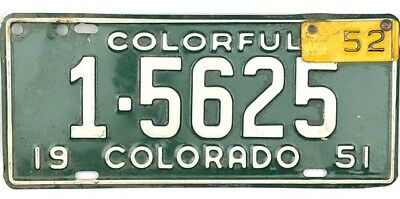 1951 Colorado License Plate Boulder County #5625 With 1952 Tab No Reserve