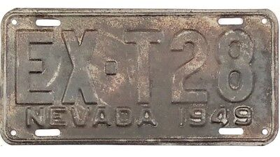 1949 Nevada EXEMPT License Plate #28 RARE TYPE - LOW NUMBER No Reserve