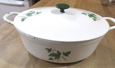 Vintage Prizer Ware White Enameled Ivy Pattern Cast Iron Dutch Oven Roaster >