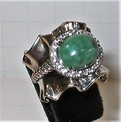 QVC MICHELLE ALBALA Green Jade Sterling Silver 925 Size 6 HUGE Cocktail Ring