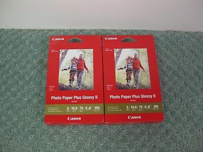 Lot of 2 Packages Canon Photo Paper Plus Glossy II 4 x 6 100 sheets per pack #6