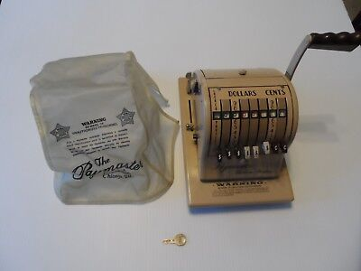 Paymaster Check Ribbon Writer Series 8000 Beige Color Has Dust Cover & Key Works