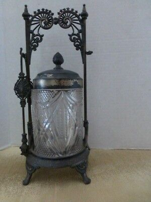 Antique Wilcox Silverplate Co. Pickle Castor/Jar Quadruple Silverplate With Tong