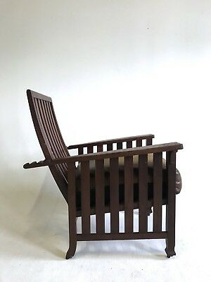 Antique Vintage Stickley Oak Spindle Morris Chair Arts Crafts Parlor Lounge Deco
