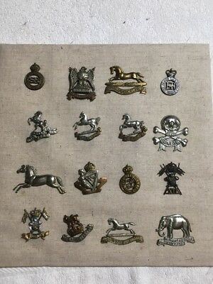 Lot Of 16 British Cap Badges, Scots Greys, Blues & Royals, Lancers Etc