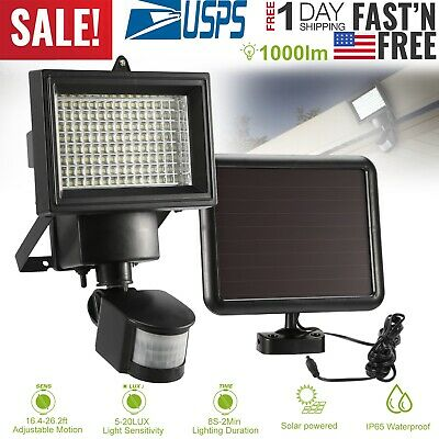 100 LED Solar Powered PIR Motion Sensor Light Garden Outdoor Security Flood Lamp