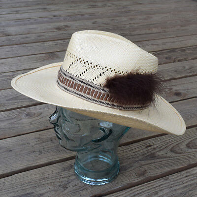 253b5392d9a37 STETSON Men s Straw Cowboy Western Hat with Headband and Brown Feather 7 1 8
