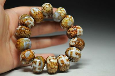 Rare Chinese Nature Snake Skin Lines Agate Beads Hand Knit Bracelet