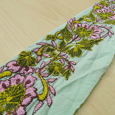 Vintage Antique Indian Ribbon Green Lace Sari Border Embroidered Sewing 1YD Trim