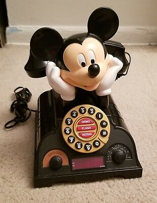 MICKEY MOUSE desk phone push button LANDLINE  WORKS