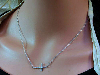 Dainty Solid Sterling Silver CZ Adjustable Pendant Cross Necklace - Gift Boxed