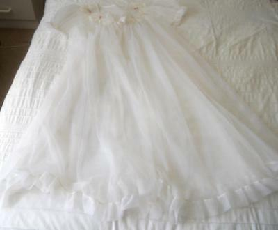 Vintage 1960's Sheer White Nylon Baby Doll Pin Up Negligee Rosebud Lace Trim Sw