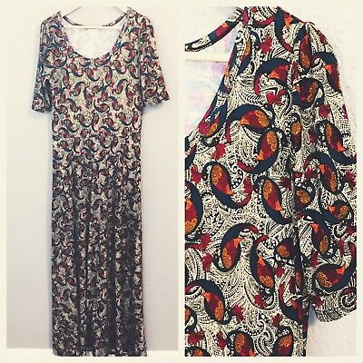 4fc54655988 NEW LULAROE ANA Maxi Dress Peacock Paisley Size XL Extra Large ...