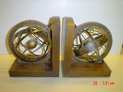 Vintage Italian Bookends Old World Spinning Gyroscope Zodiac Globes Italy