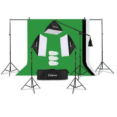 Photography Photo 3 Softbox Studio Lighting Kit w/ 3 Backgrounds Backdrop Stand