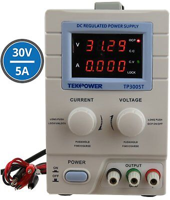Tekpower TP3005T Variable Linear DC Power Supply, 0-30V @ 0-5A