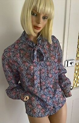 Vintage 80's floral & paisley l/s sheer blouse with tie neck Size 10/S