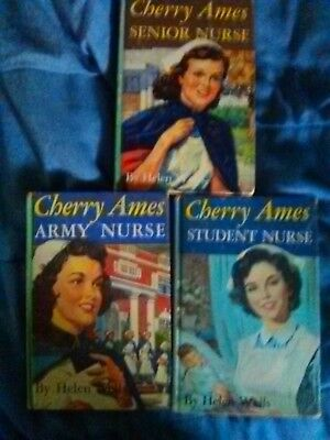 Cherry Ames Nurse book series lot of 3  by Helen Wells Hardcover 1943,1944,