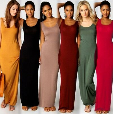 AU Womens Holiday Bodycon Maxi Dress Summer Beach Party Sleeveless Long Sundress