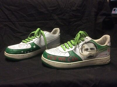 Rare Green & White, Nike Air Force I, Obama YES WE CAN/CHANGE. Mens Size 8