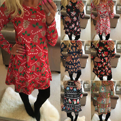 2018 Women & Girls Xmas Dress Mother Daughter Christmas Printed Party Dresses