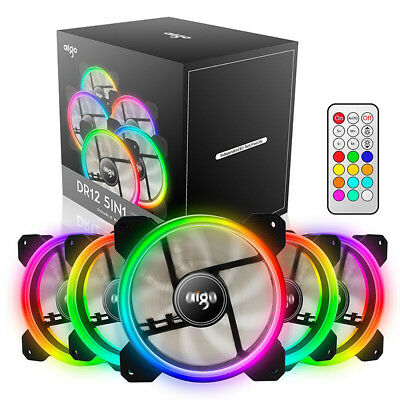 aigo 5 Pack 120mm RGB LED Computer Case PC Cooling Fan High Airflow CPU Cooler