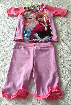 baby girls frozen anna elsa 2 piece uv 40+ surfsuit swimsuit 12-18 month NEW TAG