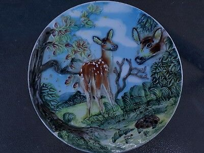 Vintage raised deer bambi wall hanging plate - Beautiful